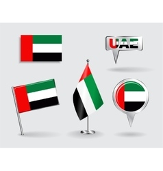 Set of United Arab Emirates pin icon and map vector