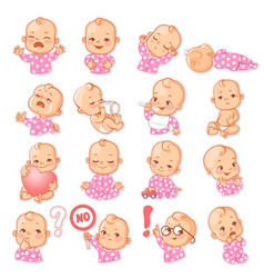 set with baby stickers vector image