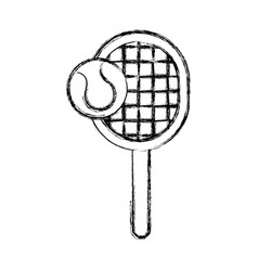 Sketch draw tennis racket and ball cartoon vector