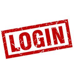 square grunge red login stamp vector image