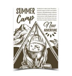 Summer camp adventure advertising banner vector