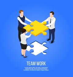 Teamwork isometric puzzle concept vector