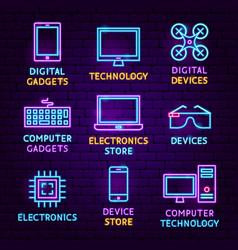 technology gadgets neon label set vector image