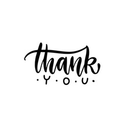 thank you handwritten blach vector image