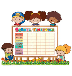Timetable school planning with characters vector