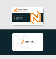 Visiting card with orange letter n vector