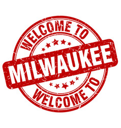 Welcome to milwaukee red round vintage stamp vector