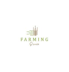 Wheat farming logo design - farmer farm vector