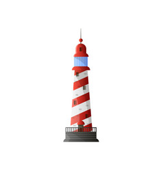 White conic lighthouse with shadow red diagonal vector