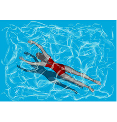 woman in pool vector image