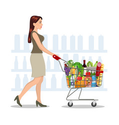Young woman shopping for groceries vector