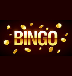 bingo game banner with bingo inscription and gold vector image