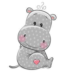 cute cartoon hippo vector image