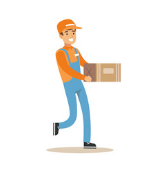 delivery service worker running holding carton box vector image vector image