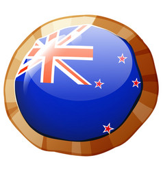New zealand flag on round badge vector