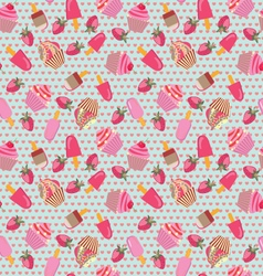 Pattern with hand-drawn ice-creams and cup-cakes vector image