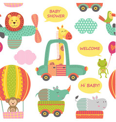 seamless pattern with animals in transport vector image vector image