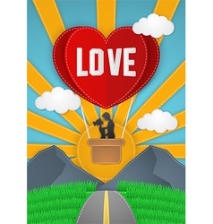 Happy Valentines Day couple flying on balloon vector image vector image