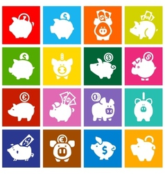 Piggy bank set white icons on colored squares vector image vector image