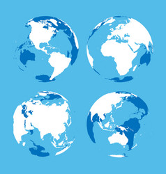 set of transparent earth globes with blue and vector image vector image