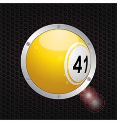 Bingo ball on metallic frame background vector image vector image