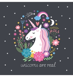 Cute unicorn with flowers vector
