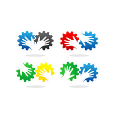 gear and hand logo vector image