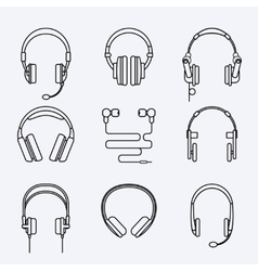line headphones icon set vector image