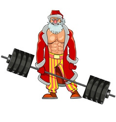 man with pumped muscles dressed as Santa Claus vector image vector image