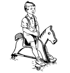 boy on the toy horse vector image vector image