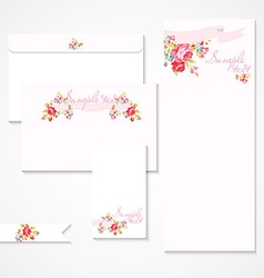 card with pink roses vector image vector image
