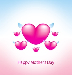 happy mothers day greeting card with heart pink 2 vector image vector image