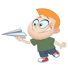 kid with paper plane vector image