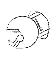 sketch draw football helmet and ball vector image vector image
