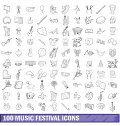 100 music festival icons set outline style vector