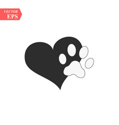 a animal pawprint in a black heart on white vector image