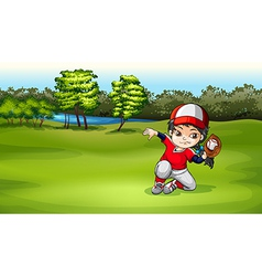 A baseball catcher at the field vector image