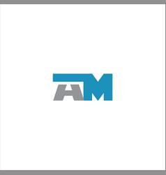 A m letter logo design on black color background vector