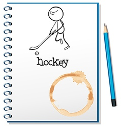 A notebook with a person playing hockey at the vector image