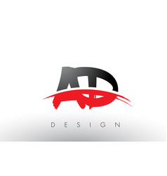 Ad a d brush logo letters with red and black vector