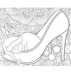 adult coloring bookpage a cute sleeping rat vector image