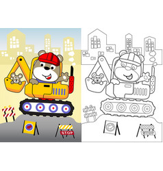 Animal worker on heavy tool cartoon coloring book vector