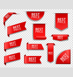 Best price web tag banner and corners 3d vector