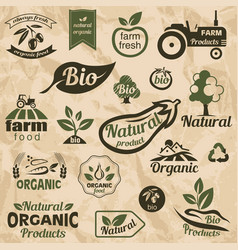 Bio organic natural food labels and emblems vector