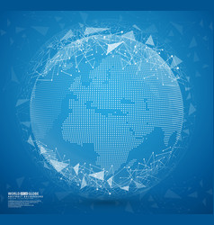 blue abstract globe earth with connecting dots vector image