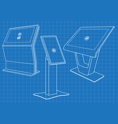 blueprint of set of promotional interactive kiosk vector image