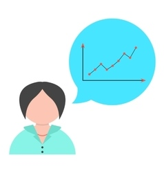 business woman with speech bubble and graph vector image