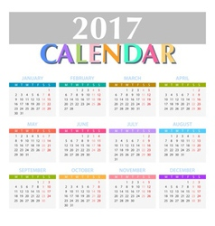 Calendar for 2017 on White Background vector image