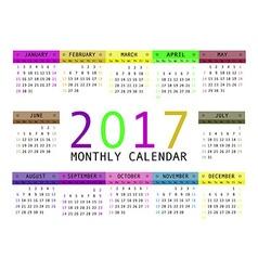 Calendar for 2017 vector image