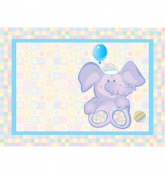 card of cute small elephant vector image vector image